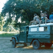 Atop Dennis's Land Cruiser, Mana Pools NP, Zimbabwe.