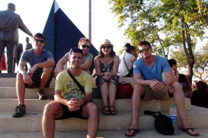 Awaiting a return ferry from Kadakoy Iskelesi. From L to R: Dave, Tim, Ayse (resident friend), Brett, Me (yellow shirt)