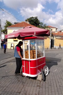 One of many vendors in and around Taksim Square, selling Simit, the doughnut-shaped bits of baked bread so popular with the locals.