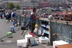 On the Galata Bridge can be found dozens of fishermen at almost any time of day.