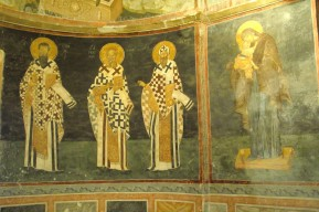 Frescoe of Byzantine saints in side chapel