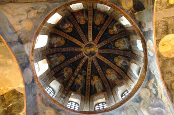 Detail inside the dome/apse of the parecclesion or side chapel. Saints or angels, I can't tell?
