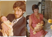 With my respective parents as a baby. Hammersmith Hospital, London.
