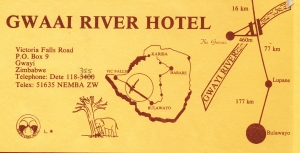 Front of a brochure advertising the Gwaai River Hotel, a friendly 1* establishment