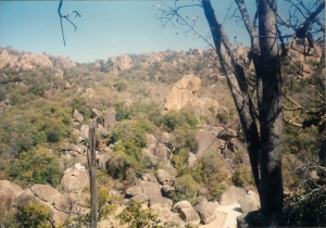 Looking out over the jumbled granite boulders of the Matopos Hills.