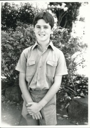 A picture of me in my Highlands School uniform (tie missing). Probably around Grade 6 or 7.