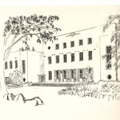 Another pen and ink drawing by Dave Norris of the hostel building, Highlands Junior School.
