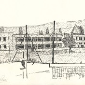The excellent line drawings were made by a teacher called Dave Norris, an Englishman. This is a view of the main school block, Highlands Junior School, as seen from the old clay tennis courts.