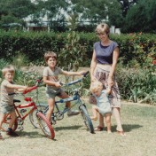 An early shot of Dan and I with our new BMX bikes in Marondera. Ivan was still a baby (seen here with my mum) and obviously too young.