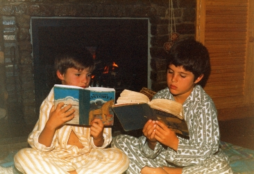 Dan and I reading our prescribed school books in our PJs.