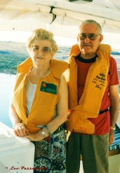 My grandparents don lifejackets before hopping aboard one of the tenders for an afternoon/evening game-viewing session.