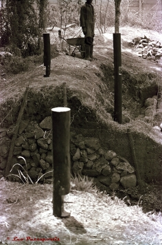 The first stage in the construction of a bridge I designed to be built over a breached, earthen dam wall, commenced around 2001.
