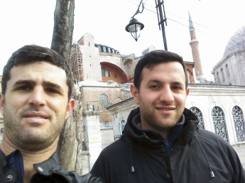 Omar and I outside the Aya Sofya, unfortunately closed for viewing on a Monday.