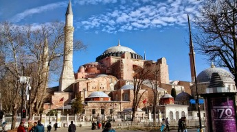 Formerly the greatest cathedral in the east, subsequently a great mosque, the Hagia or Aya Sofia, maintains elements of both its Christian and Islamic identities but is today a deconsecrated tourist magnet. A shrewd move by Attaturk to avoid religious strife I'm guessing.
