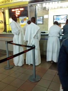 Waiting to purchase my ticket behind the four wise men...