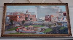 As you can see from this painting in the Ou Raadstaal (old parliamentary chambers) Church Square was of major historic significance to the white community there. Now central Pretoria is mostly black.