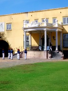 At the Casteel de Goede Hoop they still observe a traditional miltary ceremony from times past. Here a group of uniformed Cape Malay men and women observe the Key Ceremony. They have come to attention in front of the governor's residence. The ceremony is usually followed by the firing of the signal cannon but for whatever reason it wasn't observed on this occasion.